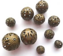 Hollow spacer bead x 10. 5 sizes. 7mm - 15mm. Antique Bronze